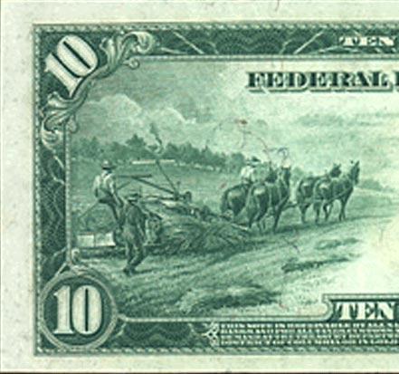 1914 Federal Reserve Note showing a farmer harvesting hemp